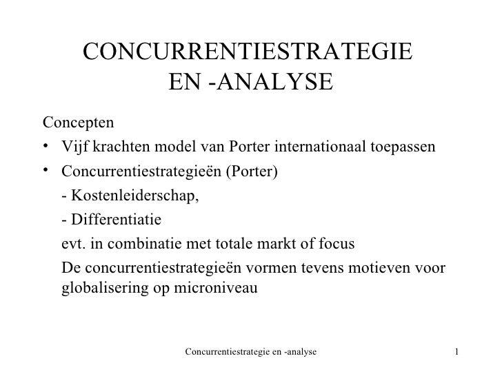 CONCURRENTIESTRATEGIE  EN -ANALYSE <ul><li>Concepten </li></ul><ul><li>Vijf krachten model van Porter internationaal toepa...