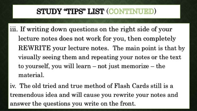 study hints and tips