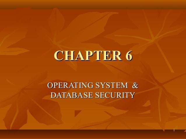 11 CHAPTER 6CHAPTER 6 OPERATING SYSTEM &OPERATING SYSTEM & DATABASE SECURITYDATABASE SECURITY
