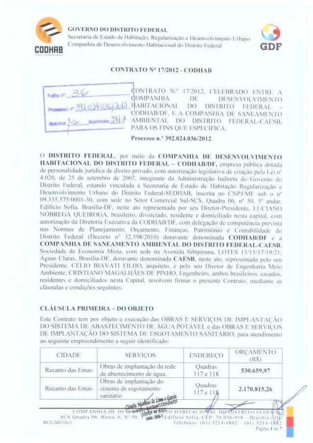 Quadras 117 e 118 (04)  contrato nº 017-2012-codhab caesb, redes água e esgoto no recanto das emas q. 117 e 118