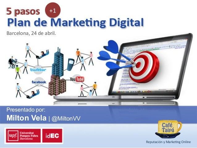 Barcelona, 24 de abril. Presentado por:Milton Vela | @MiltonVVReputación y Marke9ng Online 5 pasos  +1...