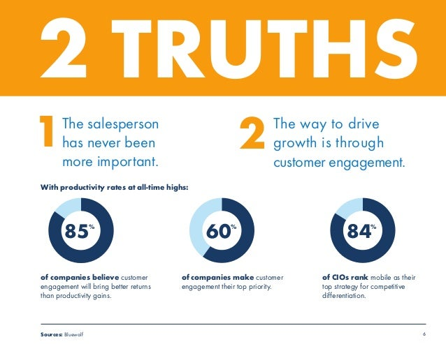 6  2 TRUTHS  1The salesperson  has never been  more important.  The way to drive  growth is through  customer engagement. ...
