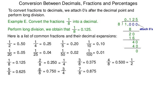 6 Percentages Conversion Between Fractions Decimals And