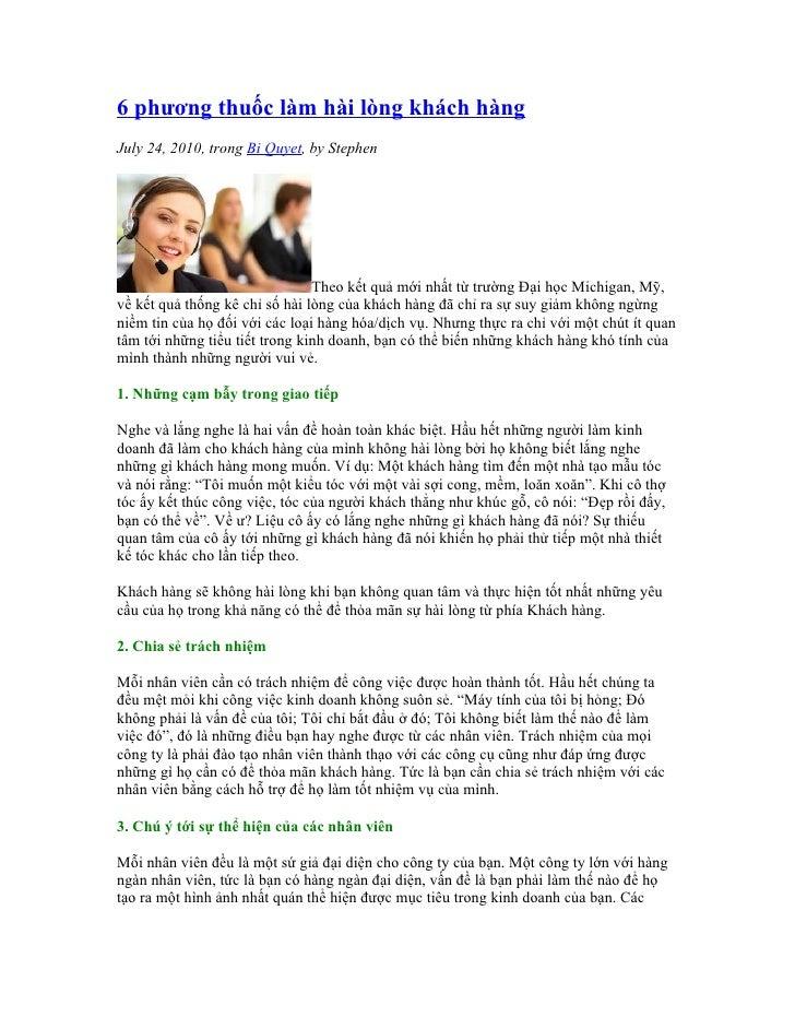 6 phương thuốc làm hài lòng khách hàng July 24, 2010, trong Bi Quyet, by Stephen                                     Theo ...