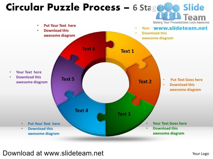 Circular Puzzle Process 6 Stages O Put Your Text