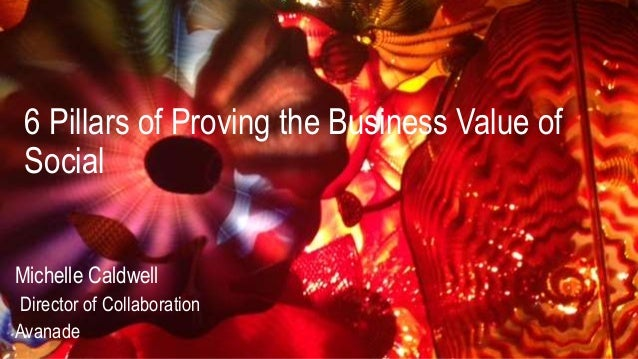 6 Pillars of Proving the Business Value of Social Michelle Caldwell Director of Collaboration Avanade