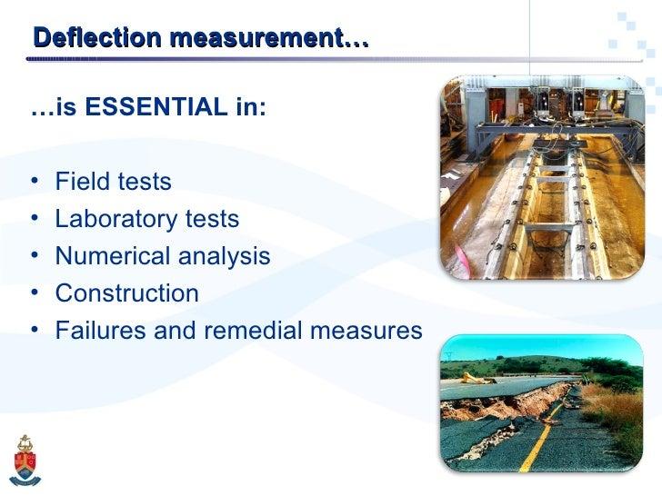 Deflection measurement… <ul><li>… is ESSENTIAL in: </li></ul><ul><li>Field tests </li></ul><ul><li>Laboratory tests </li><...