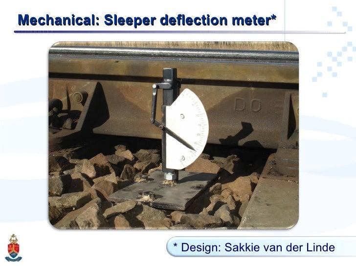 Mechanical: Sleeper deflection meter* * Design: Sakkie van der Linde