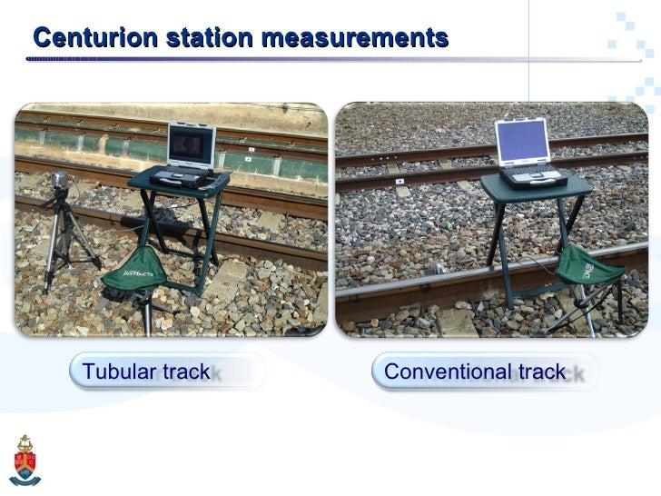 Centurion station measurements Conventional track Tubular track