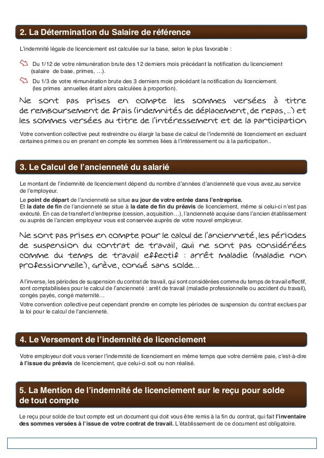 6points Connaitre Indemnite Licenciement Salaries