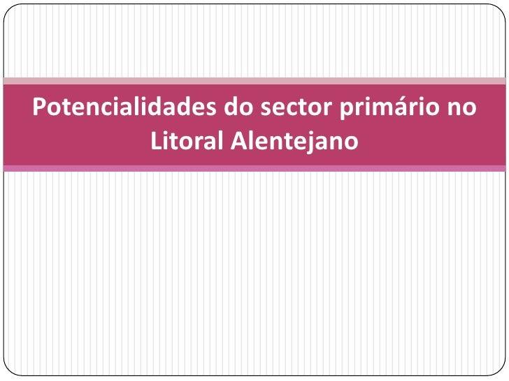 Potencialidades do sector primário no          Litoral Alentejano