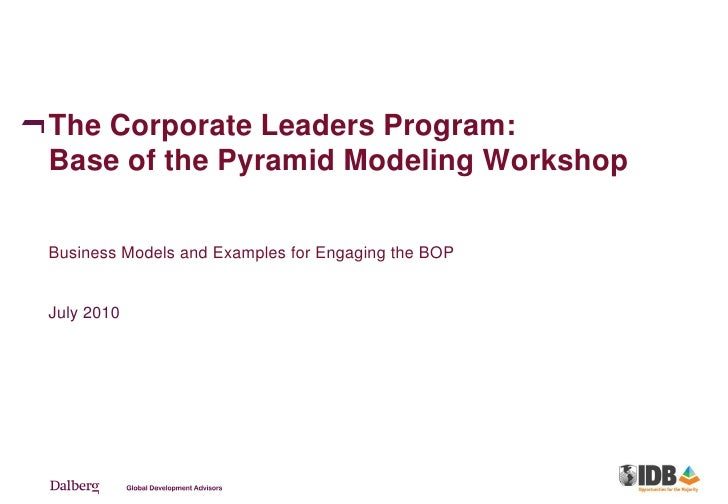 The Corporate Leaders Program: Base of the Pyramid Modeling Workshop  Business Models and Examples for Engaging the BOP   ...