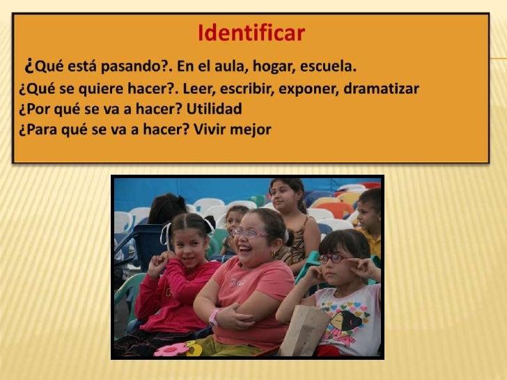 Identificar <br />¿Qué está pasando?. En el aula, hogar, escuela. <br />¿Qué se quiere hacer?. Leer, escribir, exponer, dr...
