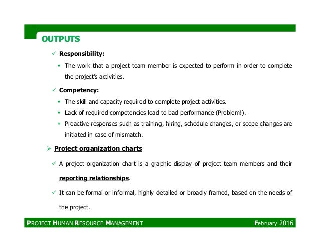 OUTPUTSOUTPUTS Responsibility: The work that a project team member is expected to perform in order to complete the project...