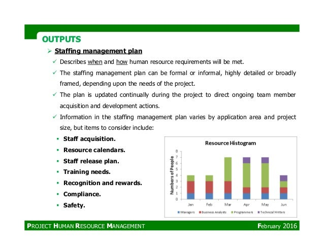 OUTPUTSOUTPUTS Staffing management plan Describes when and how human resource requirements will be met. The staffing manag...