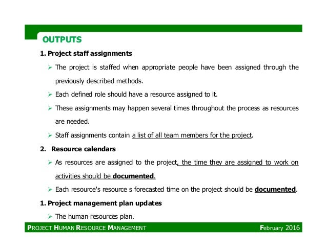 OUTPUTSOUTPUTS 1. Project staff assignments The project is staffed when appropriate people have been assigned through the ...
