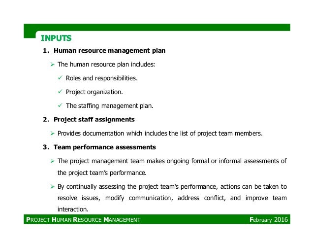 INPUTSINPUTS 1. Human resource management plan The human resource plan includes: Roles and responsibilities. Project organ...