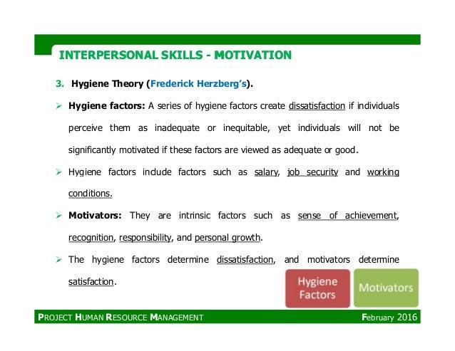 INTERPERSONAL SKILLSINTERPERSONAL SKILLS -- MOTIVATIONMOTIVATION 3. Hygiene Theory (Frederick Herzberg's). Hygiene factors...