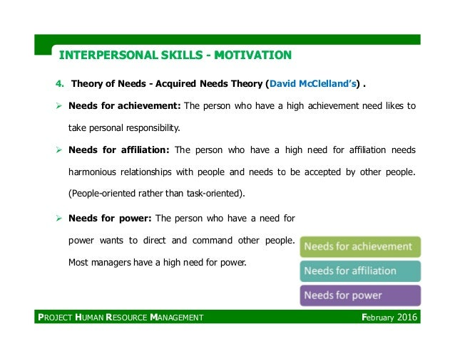 4. Theory of Needs - Acquired Needs Theory (David McClelland's) . Needs for achievement: The person who have a high achiev...