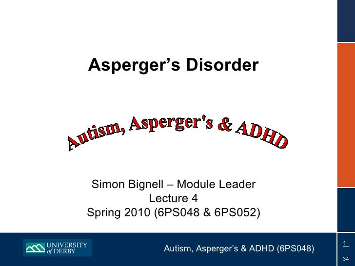 Asperger's Disorder Simon Bignell – Module Leader Lecture 4 Spring 2010 (6PS048 & 6PS052)