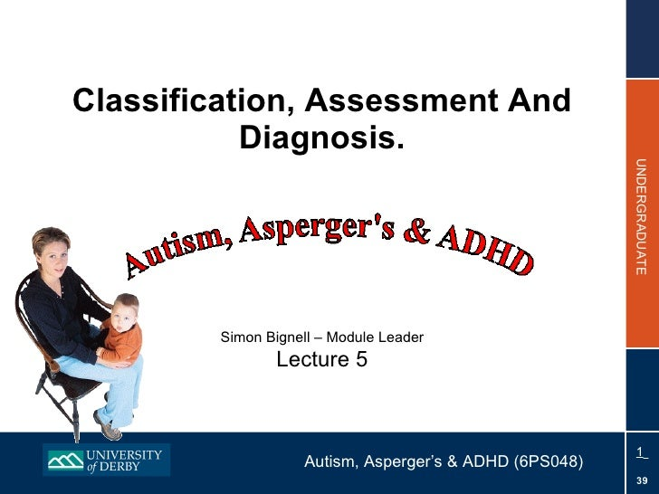 Classification, Assessment And Diagnosis. Simon Bignell – Module Leader Lecture 5
