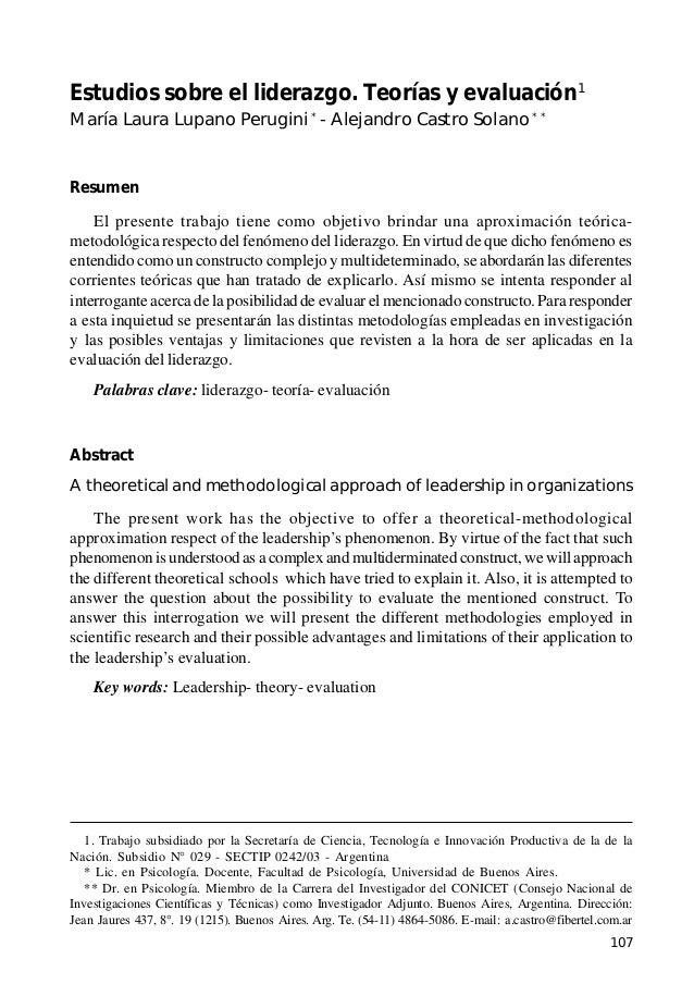 Estudios sobre el liderazgo. Teorías y evaluación  Estudios sobre el liderazgo. Teorías y evaluación1 María Laura Lupano P...