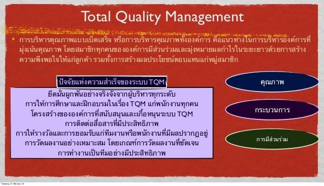 Total Quality Management การบริหารคุณภาพแบบเบ็ดเสร็จ หรือการบริหารคุณภาพทั้งองค์การ คือแนวทางในการบริหารองค์การที่ มุ่งเน้...