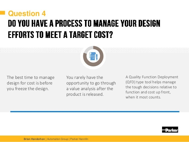 Brian Handerhan | Automation Group | Parker Hannifin Question 4 The best time to manage design for cost is before you free...