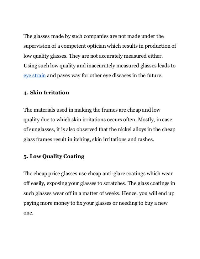 6 reasons not to buy cheap glass frames