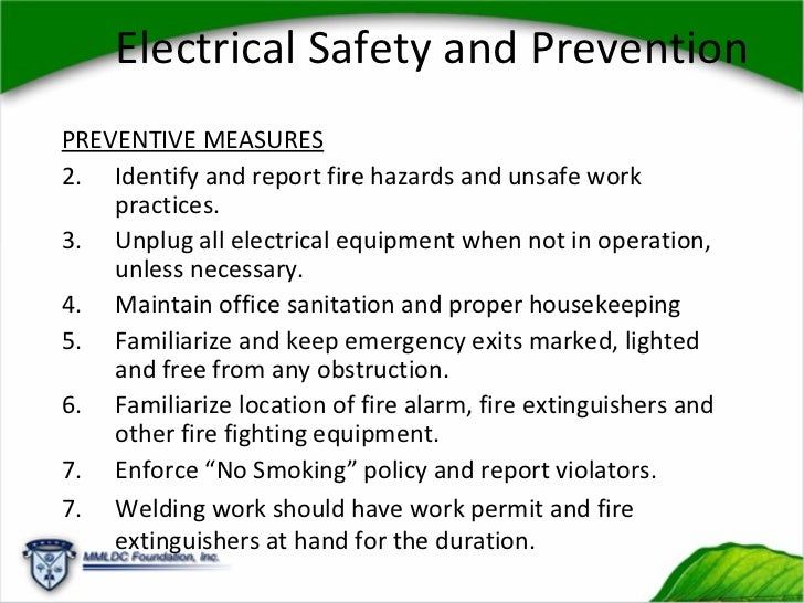 Preventive measures for fire hazards