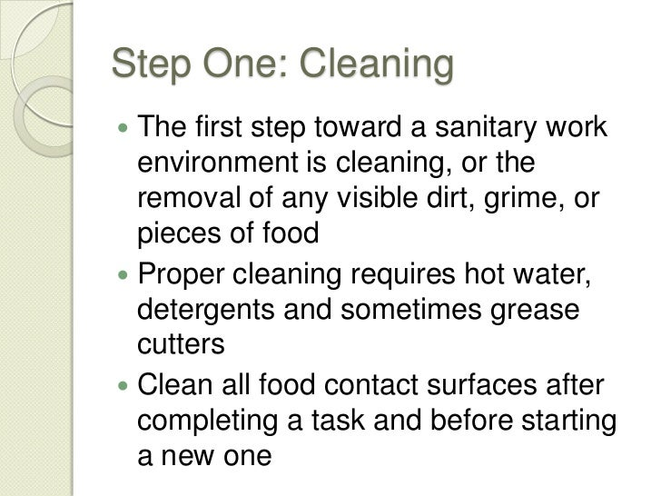 cleaning and sanitizing procedures Keeping food safe for consumption and preventing foodborne illness begins with  safety and sanitation procedures food safety: cleaning and sanitizing will.