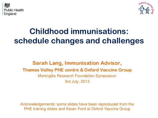 Childhood immunisations: schedule changes and challenges Sarah Lang, Immunisation Advisor, Thames Valley PHE centre & Oxfo...