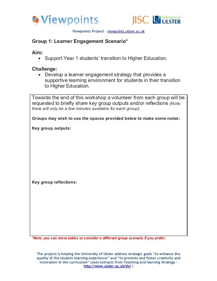 Viewpoints Project - viewpoints.ulster.ac.ukGroup 1: Learner Engagement Scenario*Aim:   •   Support Year 1 students' trans...