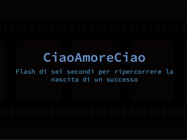 CiaoAmoreCiao Flash di sei secondi per ripercorrere la nascita di un successo