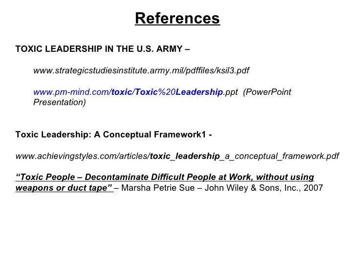 Toxic leadership in the us army