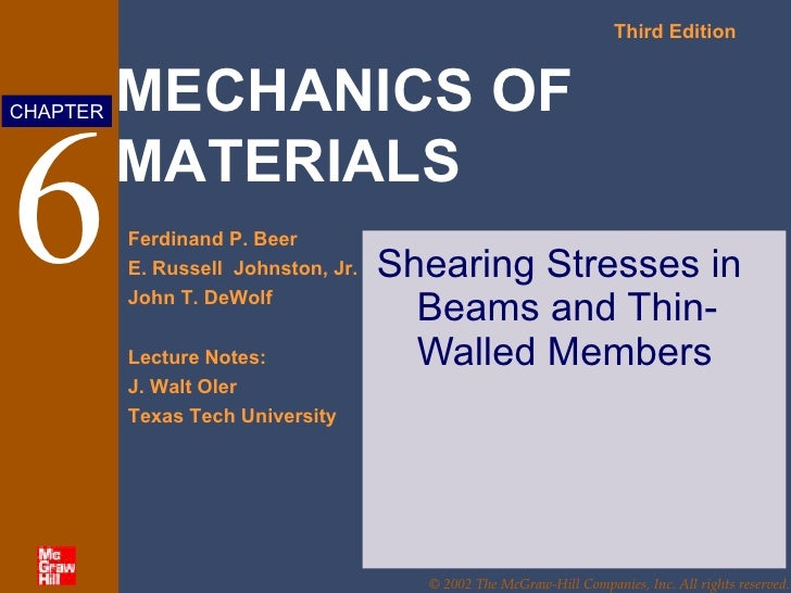 6 Shearing Stresses in Beams and Thin-Walled Members