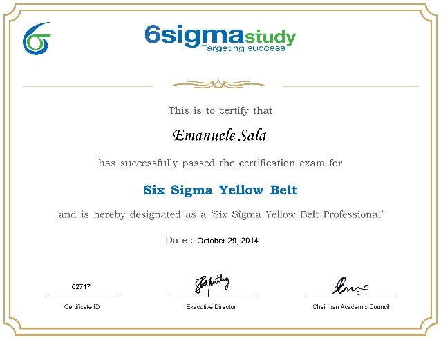 Six Sigma Certification Yellow Belt