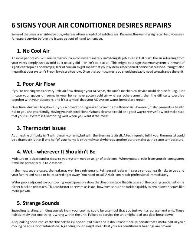 6 signs your air conditioner desires repairs