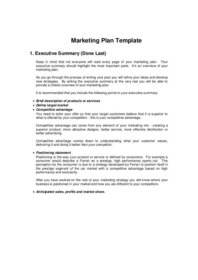 1 Page Executive Summary Template The OnePage Strategic Plan – Simple Executive Summary