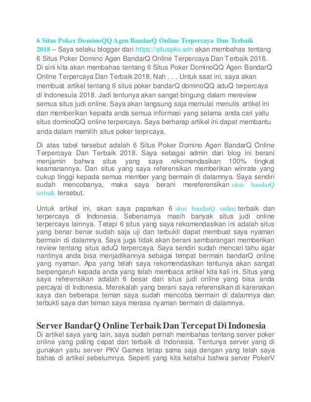 6 Situs Poker Domino Qq Agen Bandarq Online Terpercaya Dan Terbaik 20