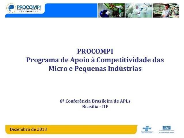 PROCOMPI Programa de Apoio à Competitividade das Micro e Pequenas Indústrias  6ª Conferência Brasileira de APLs Brasília -...
