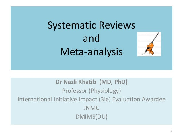 Systematic Reviews and Meta-analysis Dr Nazli Khatib (MD, PhD) Professor (Physiology) International Initiative Impact (3ie...