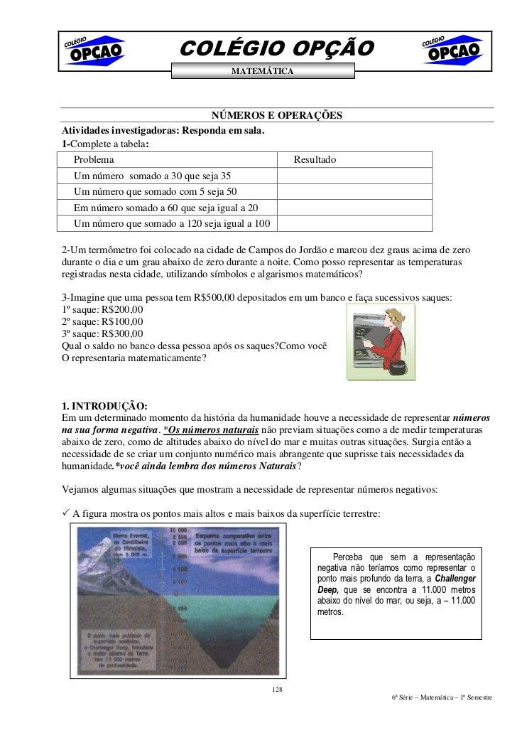 COLÉGIO OPÇÃO                                         MATEMÁTICA                                     NÚMEROS E OPERAÇÕES A...
