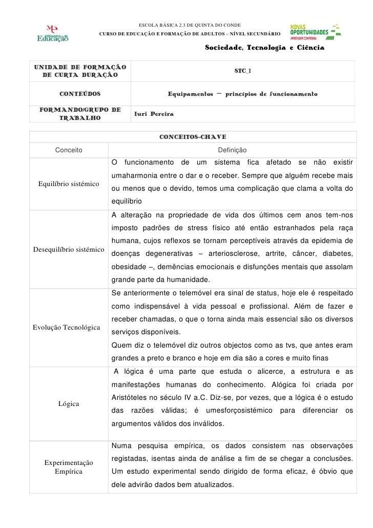 ESCOLA BÁSICA 2.3 DE QUINTA DO CONDE                     CURSO DE EDUCAÇÃO E FORMAÇÃO DE ADULTOS – NÍVEL SECUNDÁRIO       ...