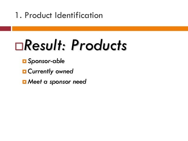 1. Product Identification Result: Products  Sponsor-able  Currently owned  Meet a sponsor need
