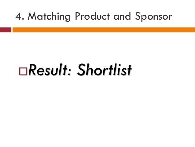 4. Matching Product and Sponsor Result: Shortlist