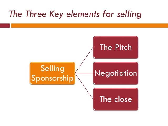 The Three Key elements for selling Selling Sponsorship The Pitch Negotiation The close
