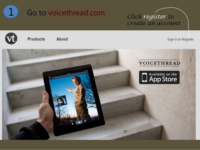 Go to voicethread.com1 Click register tocreate an account