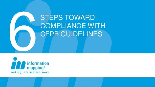 STEPS TOWARDCOMPLIANCE WITHCFPB GUIDELINES