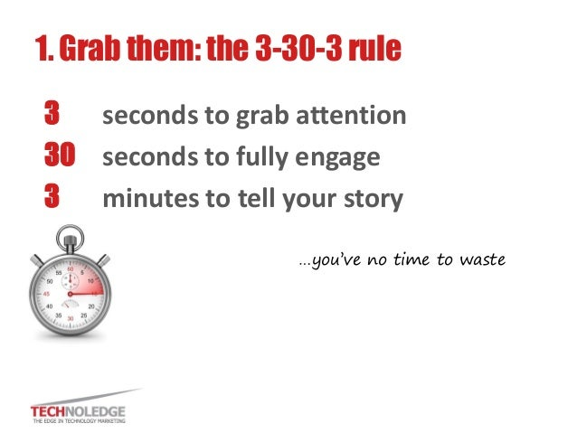 3 seconds to grab attention  30 seconds to fully engage  3 minutes to tell your story  1. Grab them: the 3-30-3 rule  …you...